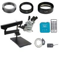 3.5X 90X Continous Zoom Table Trinocular Articulating Arm Clamp Stereo Microscope 20MP HDMI HD 1080P Digital microscopio camera