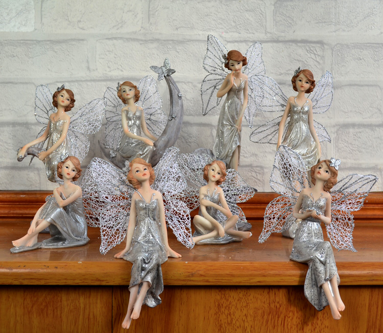 European Style Resin Mother Daughter Angel Elf 2Pcs/Set Artificial Ornaments Crafts Home Decor Birthday Gift Fairy Figurines