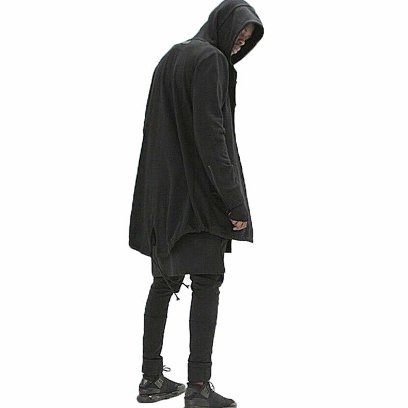Новинка 2017 мужские длинные куртки с капюшоном черная мантия Толстовки кофты High Street Хип-хоп уличной Мужская толстовка кардиган пальто 3XL