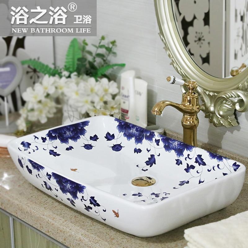 Salle de bains évier en céramique art bassin lavabo Guose scène