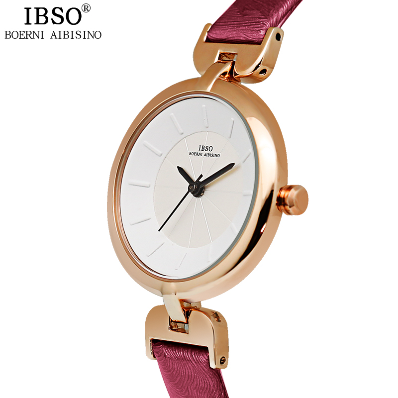 IBSO Women Watches Genuine Leather Strap Fashion Ladies Watch Brand Luxury Relojes Mujer 2018 Stereoscopic Design Montre Femme ibso top brand women watches 2017 shell dial genuine leather band watch women casual fashion quartz wristwatches montre femme