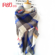 The grid squares female new winter warm scarf shawl plaid scarf luxury wool cotton women font