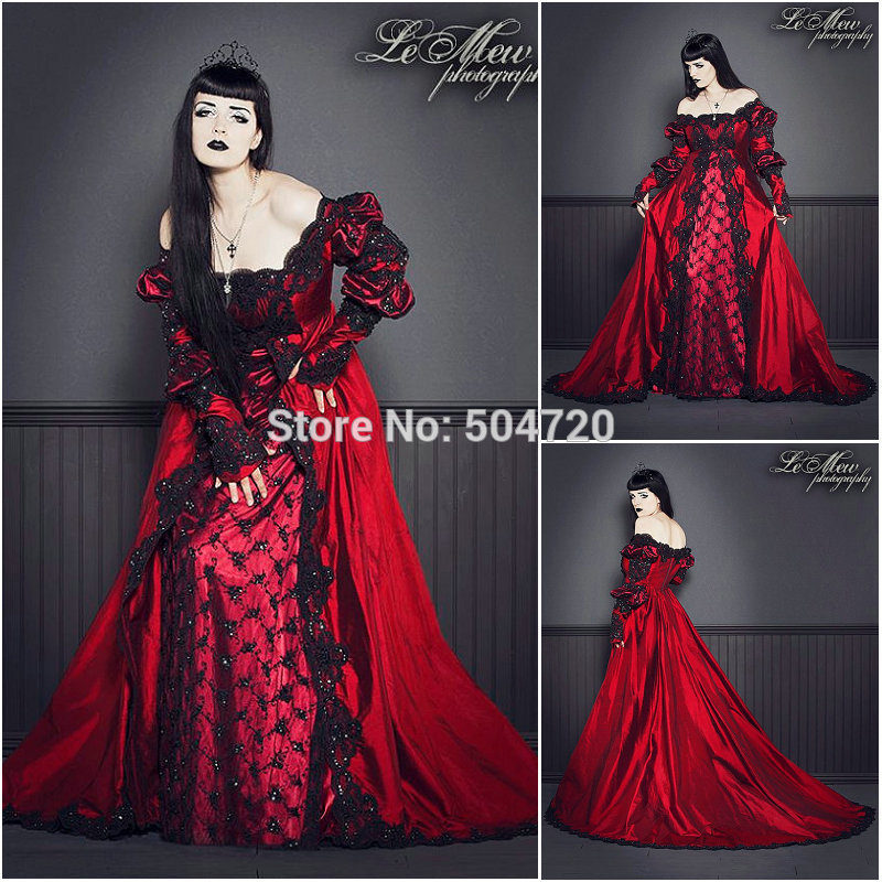 19 century Vintage Red Victorian Gothic Dress Civil War Southern ...