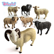 Kawaii Simulation Sheep Lovely Farm animal model Goat Figure plastic toy figurine home decoration accessories Decor Gift For Kid