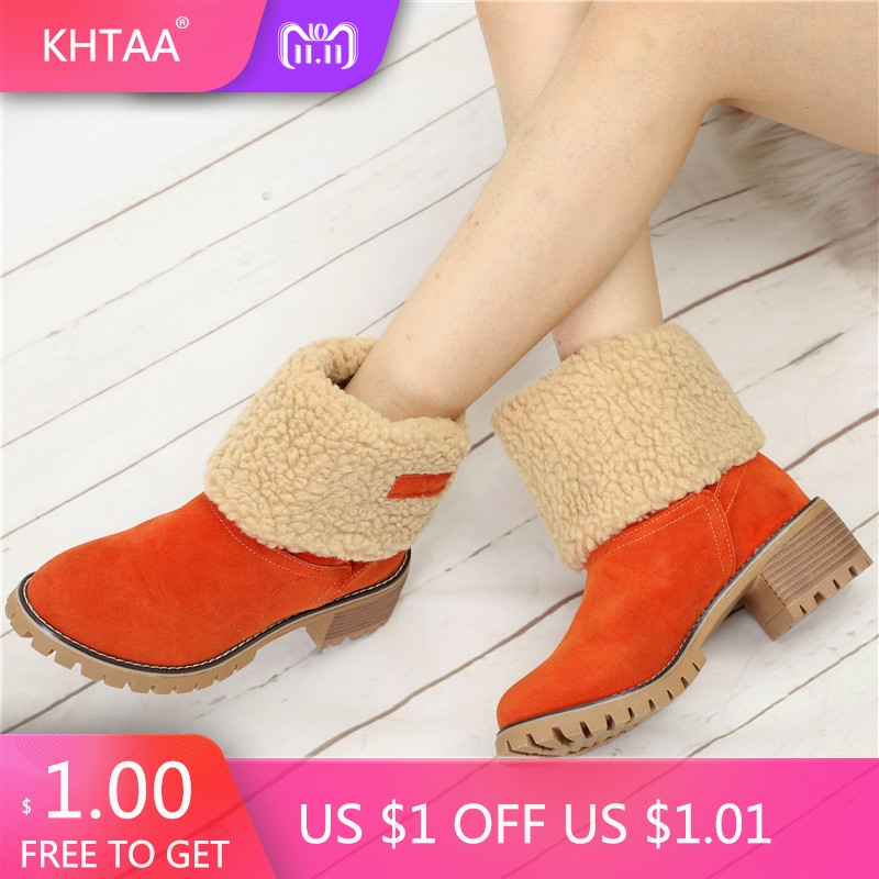 Plus Size Women Casual Ankle Boots Winter Block Heels Platform Female Faux Fur 2018 New Warm Short Boots Ladies Leisure Footwear platform bow faux fur ankle boots