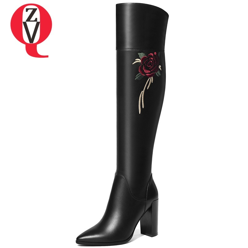 ZVQ winter new fashion sexy genuine leather party over knee boots super high square heel pointed toe zip embroider women shoes zvq 2018 new popular kid suede embroider women shoes super high square heel pointed toe zip black winter warm over knee boots