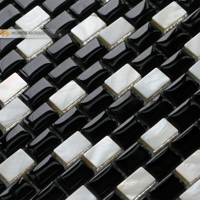 el envo gratuito negro y blanco de cristal mezclado de ncar mosaico de azulejos chimenea cuarto de bao ducha backsplash de l