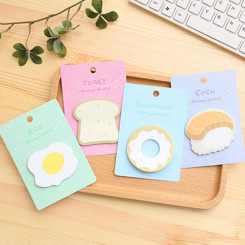 Creative Korean Kawaii Funny Fashion Food Egg Toast Sushi Doughnut Home  Decor Fridge Convenient Message Sticker