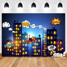 NeoBack Superhero Birthday Party Backdrops Night City Building Street Background for Photo Shoots