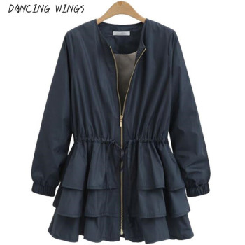 Zipper Casual Ruffles Trench Coat for Women Autumn Style O-neck Loose Slim Trench Solid Outerwear 1