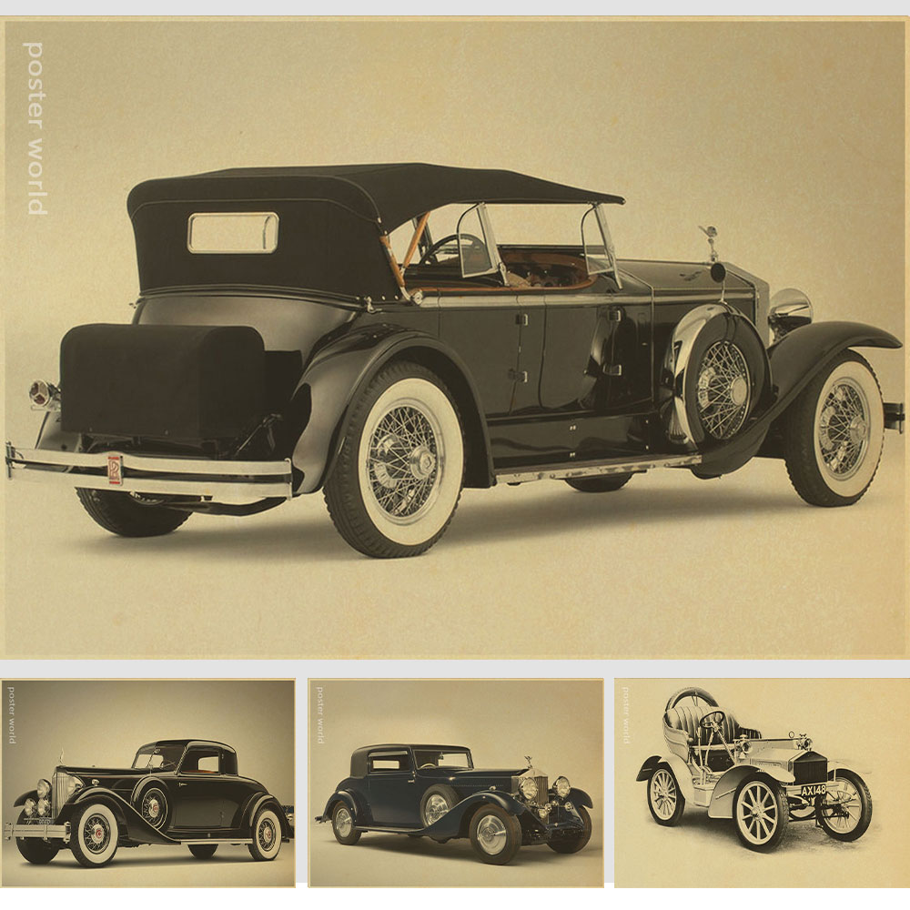 Wall Stickers Home Decor Rolls-royce Car Brands Famous Poster Painting Decorative Kraft Paper Core 51x35cm Vintage Greeting Card