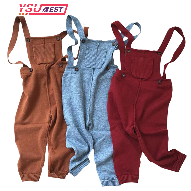 2018 Knitting Baby Girls Jumpsuit Autumn Boy Girl Overalls Pretty Knitted Infant Dungarees Candy Color Long Trousers Jumpsuit elegant candy color stand collar sleeveless jumpsuit for women