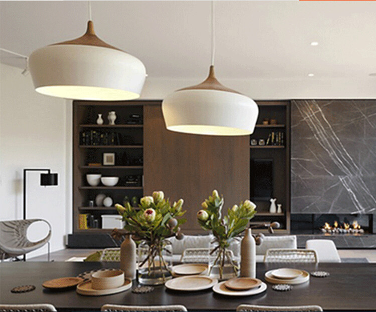Modern pendant light Wood and aluminum lamp black/ white ...