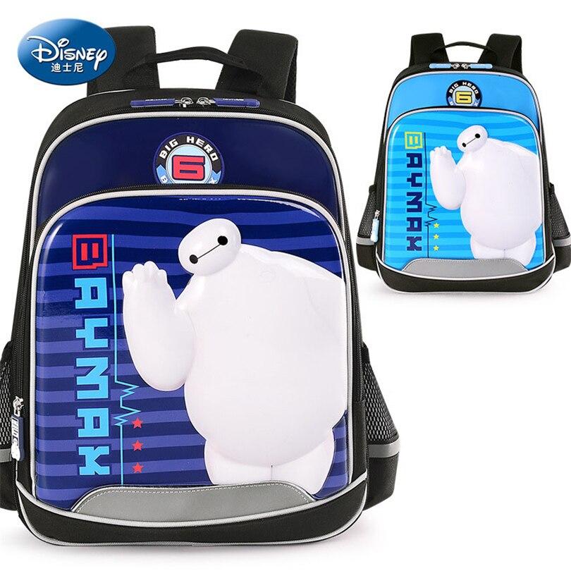 Disney Baymax Waterproof Backpack School Bags for Boys Girls Cartoon Fashion Schoolbag Kids Ultralight Satchel Grade 1-3 дисней disney детский школьный портфель студентов мужского пола в младших классах 1 3 grade автомобили обременяет мешок плеча 1 grade 3 rb0085b navy
