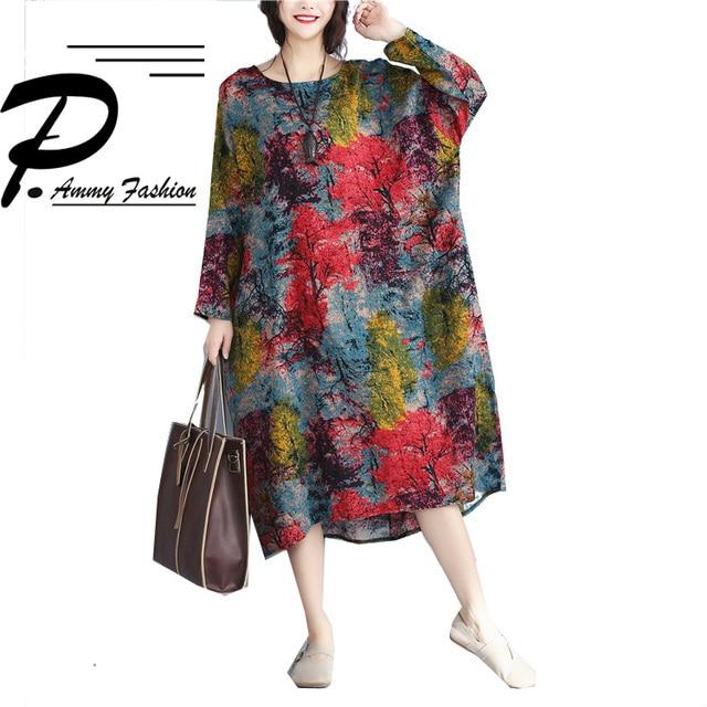 Women\'s Lagenlook Cotton & Linen aztec patterned Jumper Dress Ladies ...