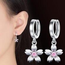 NEHZY-boucles d'oreilles en argent sterling 925 pour femmes, bijoux de personnalité, à la mode, mignons, petits, frais et simples, petites fleurs de cerisier