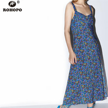 ROHOPO Women Printed Summer Dress Strap High Waist Floral Vintage Blue Dress Slip Side Flare Hem Midi Vestido #UK9370