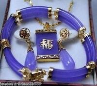 Femmes de Bijoux De Mariage Véritable joyau Violet 2 Rangées Bracelet Pendentif Boucles D'oreilles> AAA GP De Mariée wi Naturel argent-bijoux