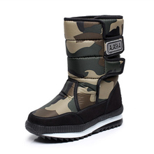 New Winter Outdoor Men Boots  Tube Warm Thick Waterproof Non-Slip Padded Men Shoes Camouflage Snow Boots  Large Size 38-47