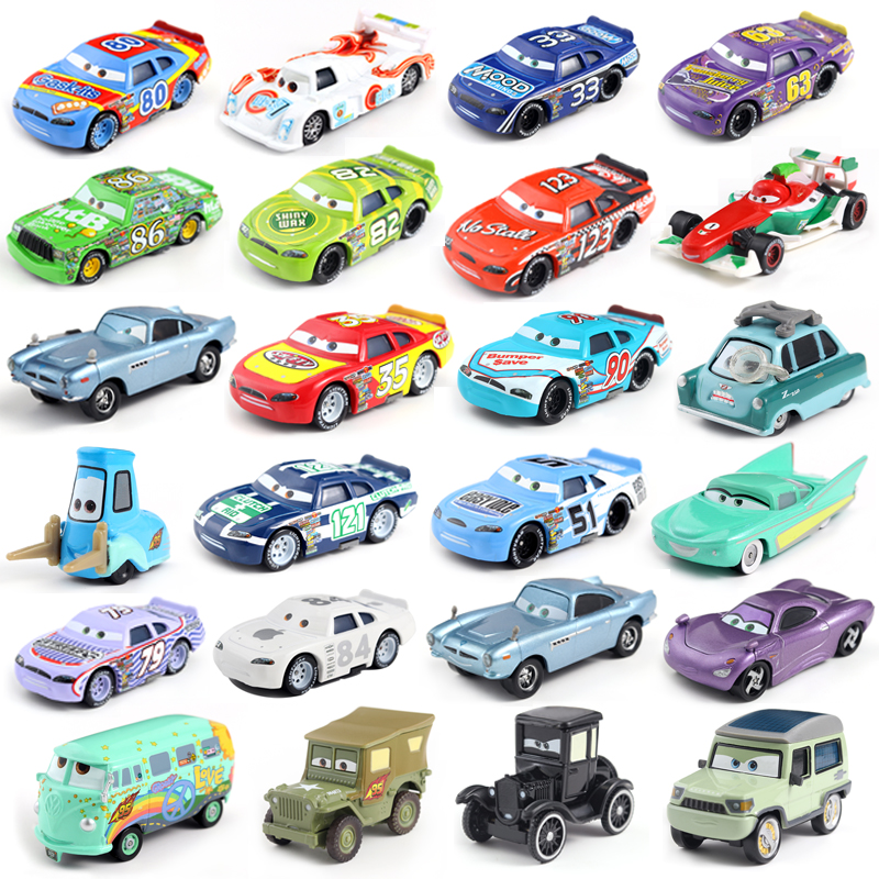 27 Style Disney Pixar Cars 3 Gold Dinoco Blue Black Police Lightning McQueen Diecast Toy Car For Kids 1:55 Loose Brand New цена