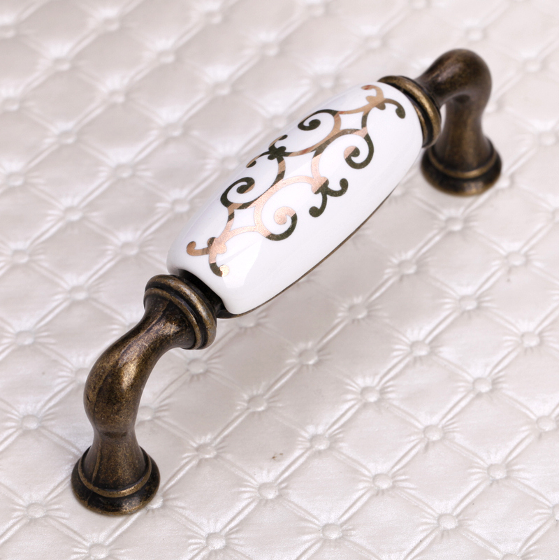 96mm Keramik Griffe Dekorative Kommode Knöpfe Messing Antike ...