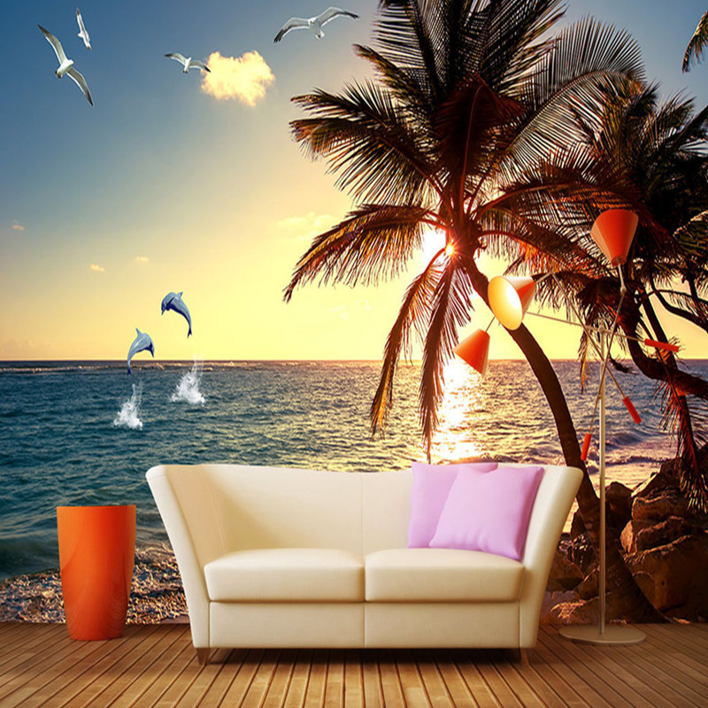 Custom 3D Wall Mural Paper Seaside Sunset Natural Scenery 3D Stereoscopic TV Background Wall Painting Wallpaper Living Room 3d stereoscopic large mural custom wallpaper living room tv backdrop wall paper bedroom wall painting cartoon film kung fu panda