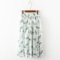 Japan Small fresh summer sweet Leaves printing loose Simple skirt woman