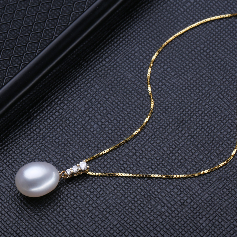 FENASY 18k Gold Earrings Pearl Jewelry,18K Gold Pendant Pearl Jewelry Necklaces & Pendant For Lovers Send S925 Silver Necklace