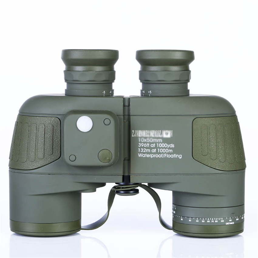 10x50 Waterproof Binoculars Military Marine Level Telescope BAK4 Lens Built-in Rangefinder Compass For Outdoor Hunting Hiking