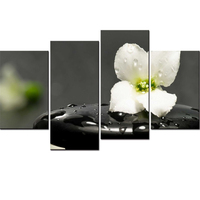 Painting Modular Wall Picture Print Poster Canvas 4 Panel Zen Stone Flowers Frame Art For Living