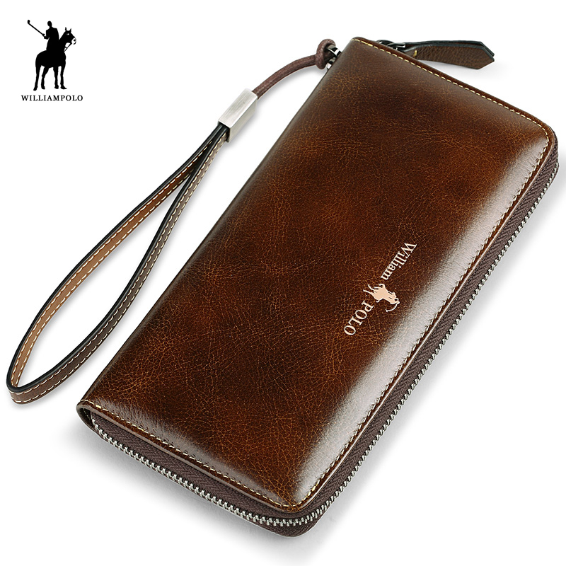 WILLIAMPOLO 2017 Genuine Leather Long Purse Wallet Luxury Male Wallet Men Zipper Purse  POLO215 alpine spg 10c2