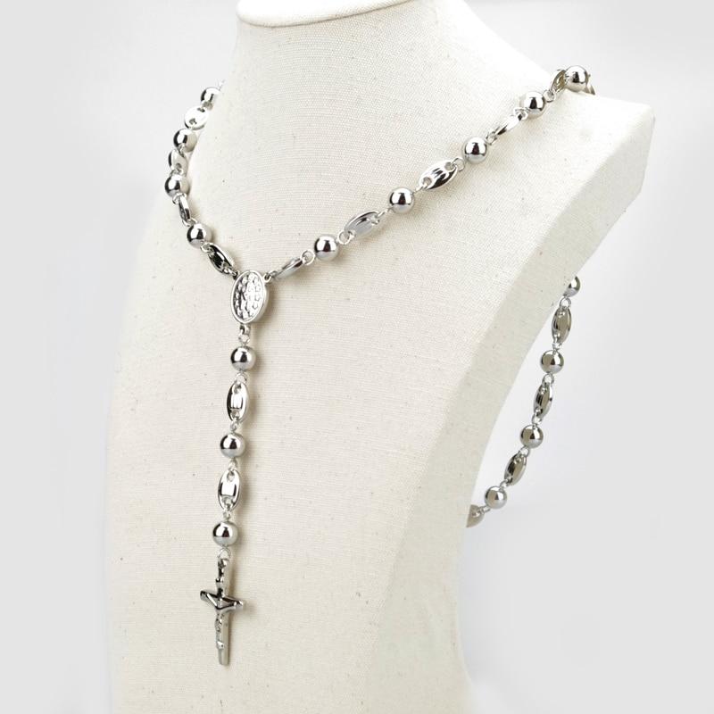 Ciężki katolicki jezus krzyż wisiorek bogini modny długi różaniec naszyjnik dla mężczyzn i kobiet koraliki moda biżuteria hzb021