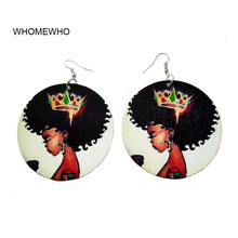 60cm Wood Round Africa Black Beautiful Crown Girl Tribal Earrings Fashion DIY Wooden Ethnic Accessory Ear African Jewelry Gifts