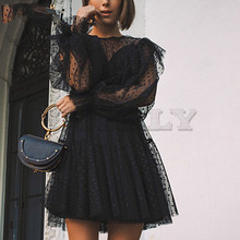 Cuerly sexy party club black mesh lace dress women dot ruffled two pieces set dresses 2019 O neck lantern sleeve female vestidos