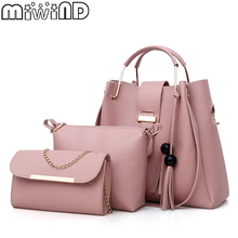 MIWIND New Women Bag High Quality Litchi Pattern Lady Shoulder Bag Female Fashion Bucket Bags Assembled
