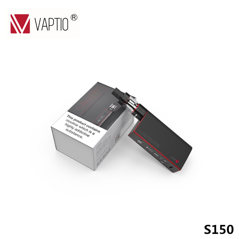 Vaporizador Vaptio S150 Vape Cigarro Eletrônico KIT 150 w 3 ml atomizador vape 0.91 ''Tela OLED de controle de temperatura 18650 bateria