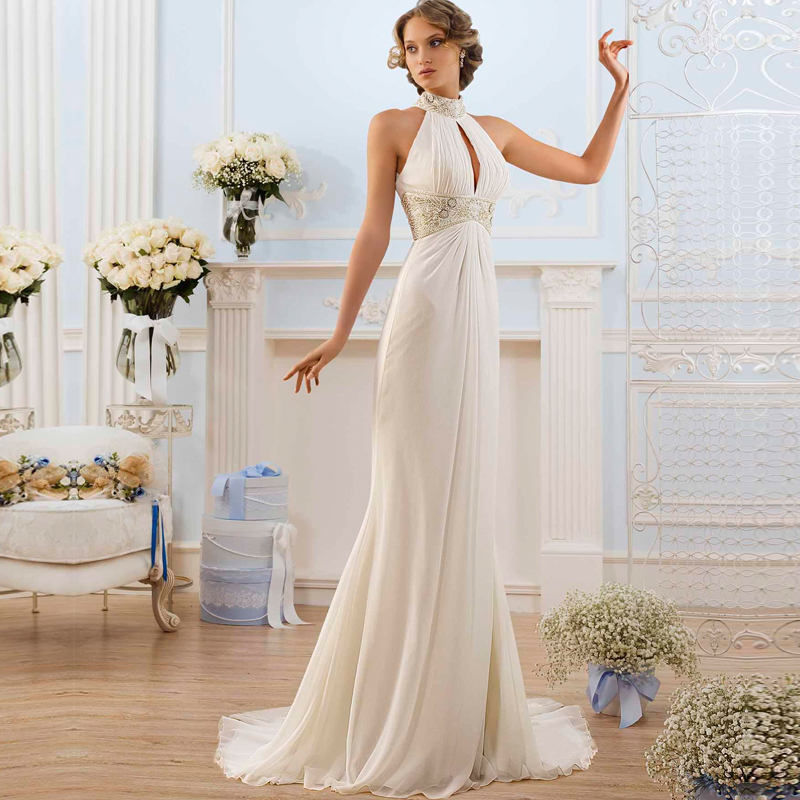 2017 Greek Style Elegant Wedding Dresses High Neck Bead ...