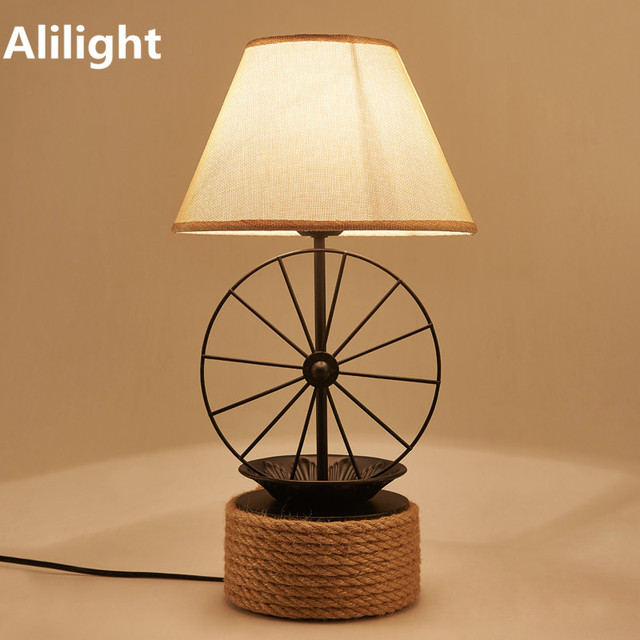 Retro American Iron Table Lamp Vintage Fabric Rope Desk Lamp Lighting Light  For Study Room Living