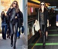 Новые роскошные дизайнерские итальянские модные 2018 весенние женские брюки 100% овчины эластичные натуральная кожа длинные брюки леггинсы