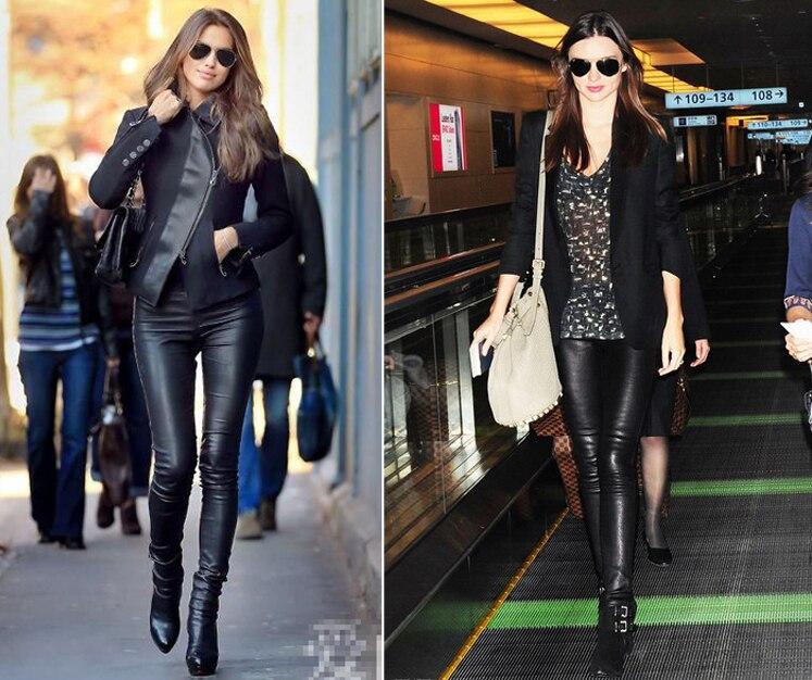 Nouveau Designer De Luxe Italie Mode 2018 Printemps Femmes Pantalon de 100% en peau de Mouton Élastique Véritable Cuir Pleine Pantalon Leggings