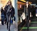Novo Luxo Designer de Itália Moda 2016 Primavera Outono das Mulheres Calças 100% Calças Leggings Elástico Genuíno Couro de pele de Carneiro Cheio
