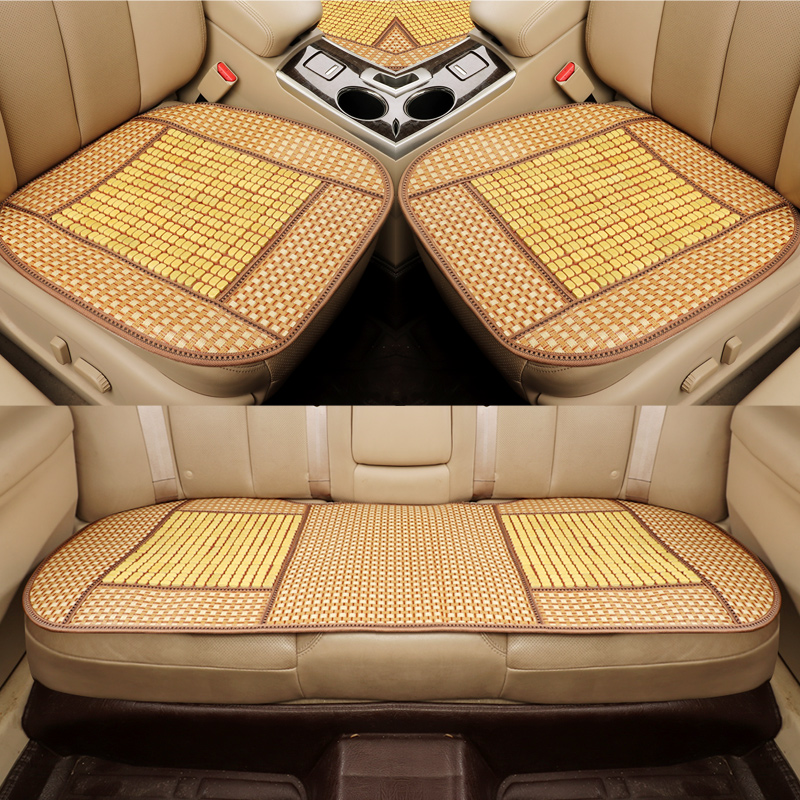 3pcs car seat cover bamboo automobile seat cushion breathable car pad mat anti slip for nissan bmw audi benz ford - 3