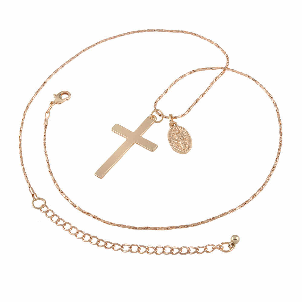 e98af9d62992 ... Винтажные серьги givvllry золотой крест кулон ожерелье для женщин  мужчин ювелирные изделия минималистский Мэри и Иисус ...