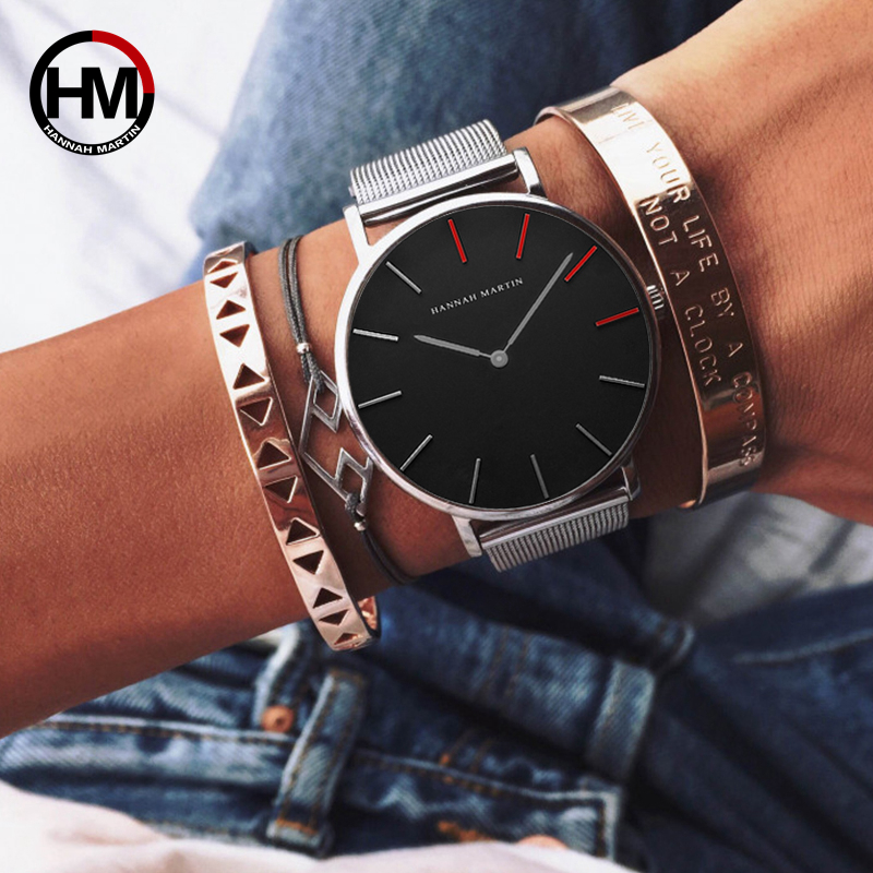 Fashion Ladies Rose Gold Stainless Steel Mesh Band Watch Japan Quartz Movement Waterproof Hodinky luxury Wristwatches For Women