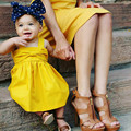 Girls Dress 2017 Brand Princess Dress Sleeveless Overall Design for Baby Girls Clothes Party Dress Yellow Kids Dresses