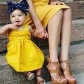 Meninas Vestido de 2017 Marca Princesa Vestido Sem Mangas Vestido de Design Global para Crianças Vestidos de Bebê Roupas Das Meninas Vestido de Festa Amarelo