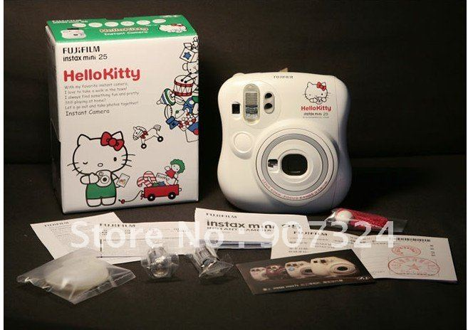 Free Shipping Original Fuji Instax instant mini25 camera(White) hello kitty+2pack films by EMS