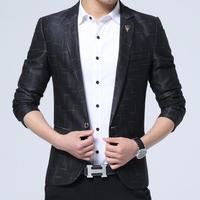 Suit Men Slim Fit Men Casual Slim Fit Stripe Brand Blazer Suit Jacket Coat Male Clothing One Button Blazer Masculine