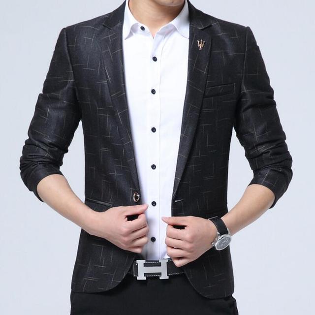 e6a4062b10ec Suit Men Slim Fit Men Casual Slim Fit Stripe Brand Blazer Suit Jacket Coat  Male Clothing One Button Blazer Masculine