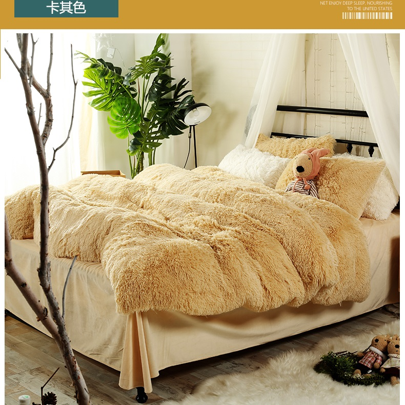 13 Solid Color Styles Children Bedding Sets Luxury 4pcs Soft Fluff Bed Sheet Princess Duvet Cover Bedspread Bedclothes Bed Linen